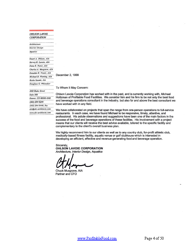 Ohlson lavoie corporation Profitable Food Facilities Recommendation Letter