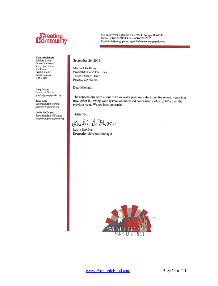 Creating Community Profitable Food Facilities Recommendation Letter
