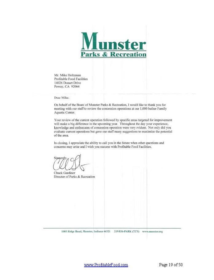 Munster Parks & Recreation Profitable Food Facilities Recommendation Letter